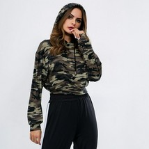 Dry Fit Sport Top Women Hooded Jogging Running Jersey Camouflage Fitness - $30.79