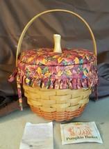 Longaberger 1995 PUMPKIN Combo Basket 19402 Fall Foliage Liner Padded Lid - $39.95