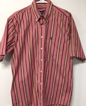 POLO RALPH LAUREN BUTTON SHIRT 16 1/2x34 PINK RED BLACK WHITE STRIPE - - - $14.24