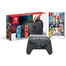 NINTENDO SWITCH CONSOLE NEON JOYCON, SUPER SMASH BROS ULTIMATE & PRO CON... - $440.55