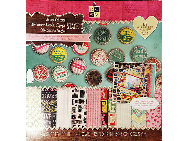 DCWV 12x12 Vintage Collector Cardstock Paper Stack 48 Sheets, #PS-005-00299