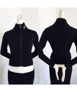 Versace Jeans Couture Italy Designer Logo Black Cardigan Mixed Moher fab... - $202.50