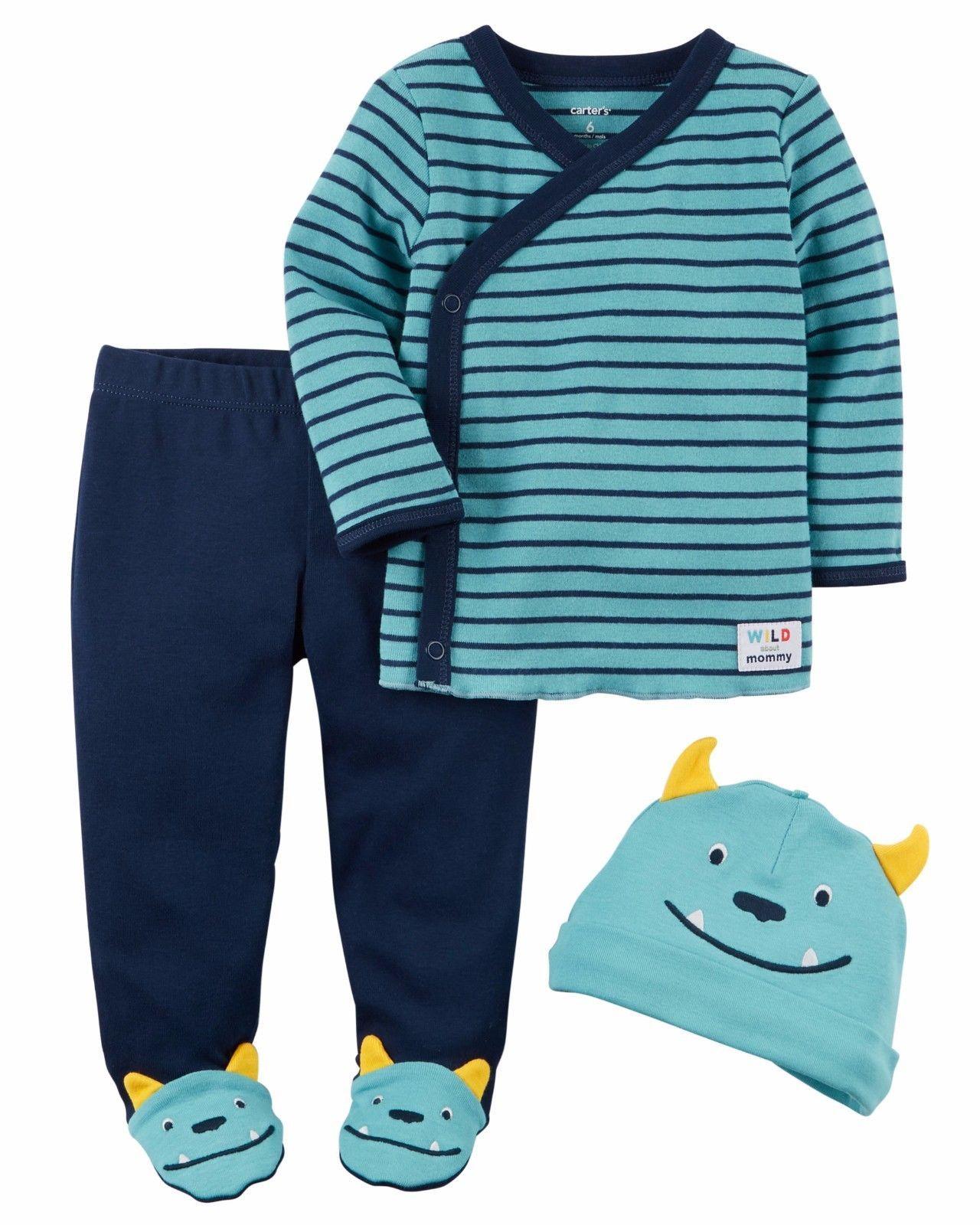 NEW Carter's Boys 3 Piece Layette Set Newborn 3 6 9 Months Monster Cap Pants Top