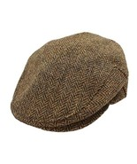 Biddy Murphy Irish Hats for Men Mens Flat Cap Brown Herringbone 100% Woo... - $80.47