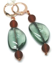 """PENDANT ROSE EARRINGS BROWN GREEN ROUNDED DROP MURANO GLASS 1.9"""" ITALY MADE image 1"""