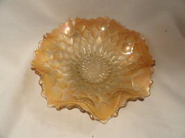 Dugan Carnival Glass Bowl Marigold Scales Fluted Low #2 - $14.99