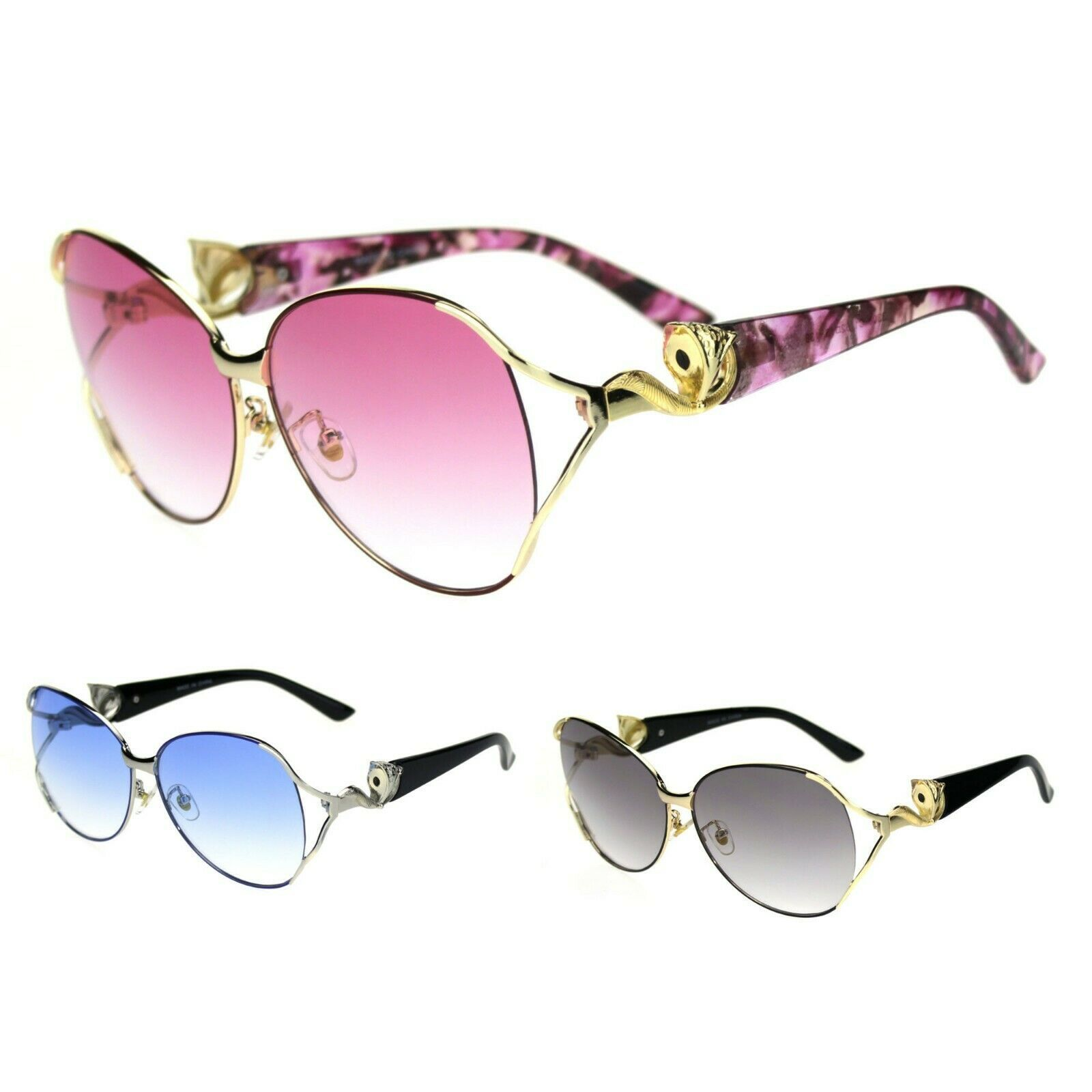 Fox Tail Jewel Brouche Hinge Designer Metal Rim Sunglasses