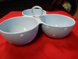 """Magnificent Spode """"Baking Days"""" Blue-White Dots- 3 Section Divided Dish - $20.50"""