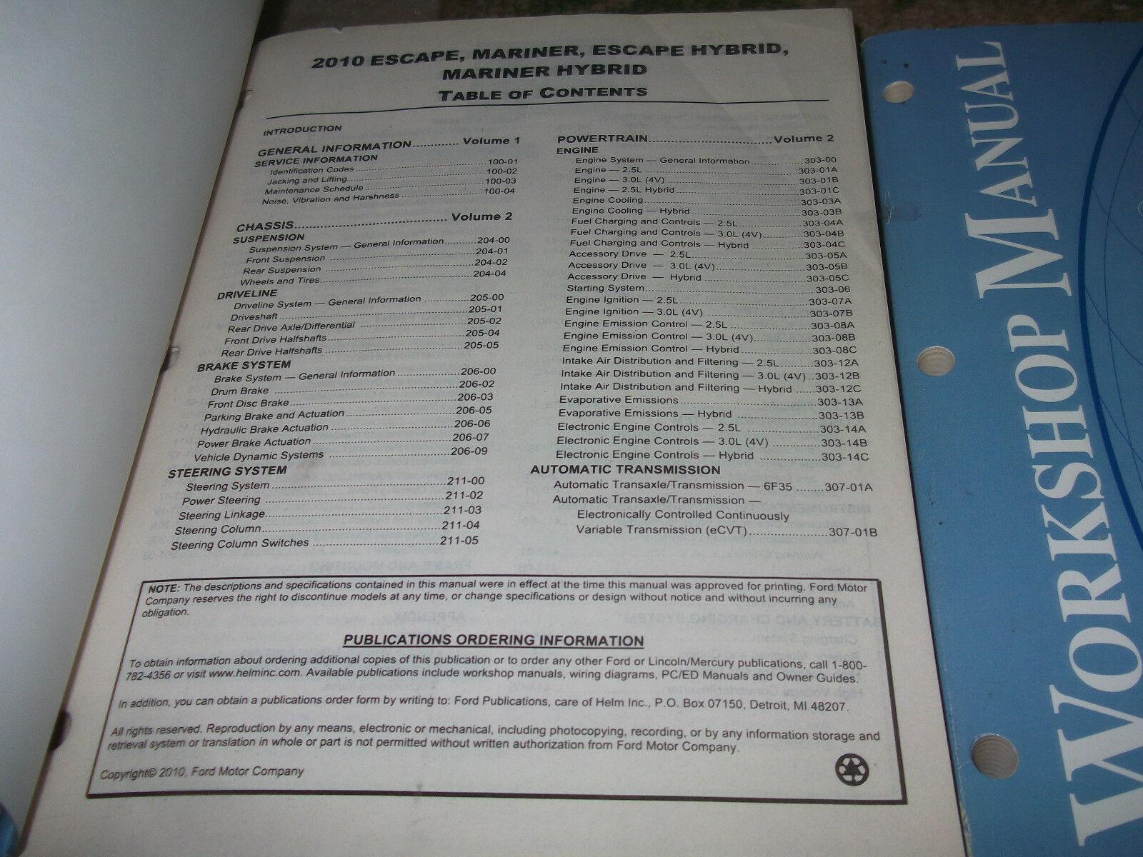 2010 Ford Escape Mercury Mariner & Hybrid Service Shop Repair Manual SET OEM image 2