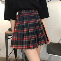 Holiday RED PLAID SKIRT Women Girl Pleated Plaid Skirt School Style Plaid Skirt image 1