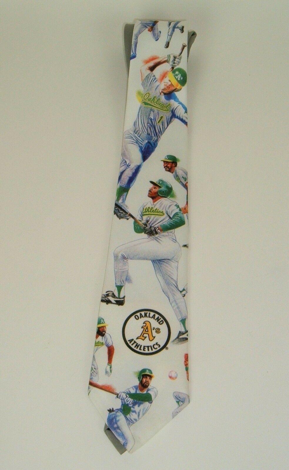 Vtg Ralph Marlin 1991 Neck Tie Oakland A's Athletics Baseball Tim Petersen image 2