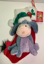 Disney Candy Cane Christmas 2000 Eeyore Plush Musical Stocking Winnie Th... - $49.00