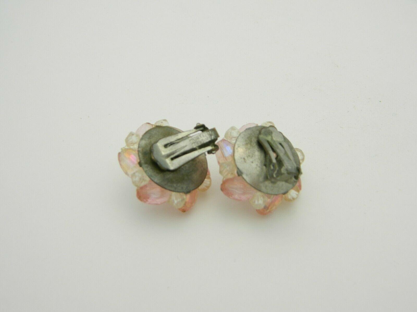 Western Germany Pink Prystal Cluster Beaded Silver Tone Earrings Vintage