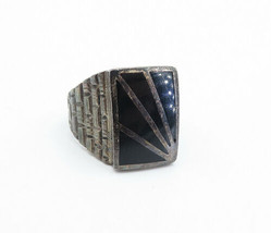 925 Sterling Silver - Vintage Black Onyx Brick Layer Cocktail Ring Sz 10... - $62.56