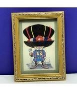 Framed art collage fiber United Kingdom England British vintage mcm Guar... - $39.55