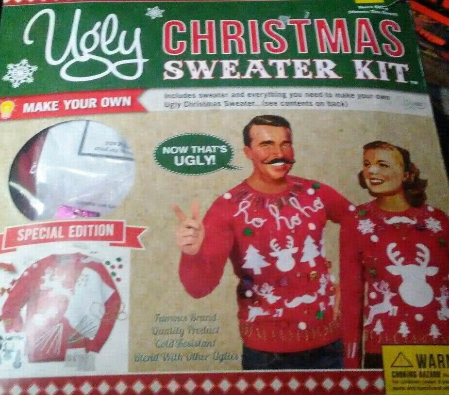 Primary image for NEW UGLY CHRISTMAS Sweater Size XL KIT MENS Make Your Own RED Hideous NWT Craft