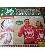 NEW UGLY CHRISTMAS Sweater Size XL KIT MENS Make Your Own RED Hideous NW... - $12.86