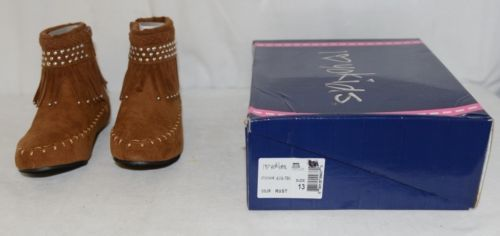 I Love Yo Kids AVA 78K Girls Fringe Boot Rust Silver Studded Size 13