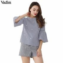 Vadim stylish pearls beading striped shirts flare sleeve cute chic three... - $16.60