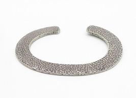 925 Sterling Silver - Vintage Hammered Flat C Shaped Cuff Bracelet - B6174 image 2