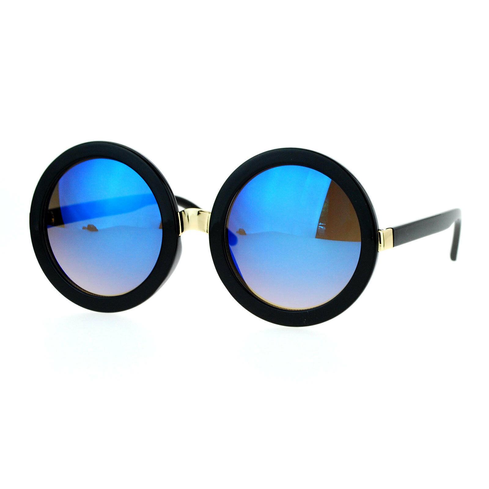 Womens Oversized Fashion Sunglasses Round Circle Frame Mirror Lens