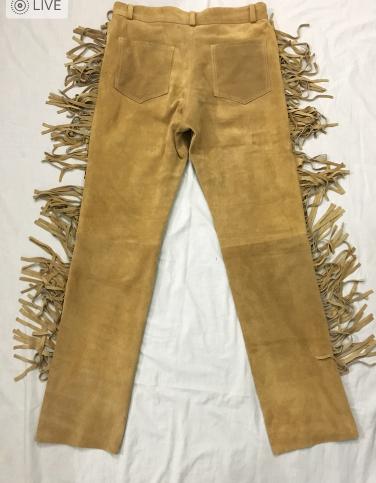 Men New Native American Buckskin Beige Goat Suede Leather Fringe Hippy Pant P34