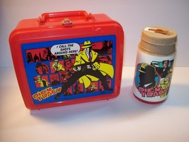 Dick Tracy Lunchbox Original Red Plastic Case With Thermos Disney Aladdi... - $19.27