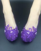 Women Purple Crystal Lace Wedding Ballet Flats Bridal Shoes Size 5,6,7,8... - €35,13 EUR