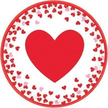 Confetti Hearts Valentines Day 8 Ct  9 in Paper Lunch Dinner Plates - $2.69