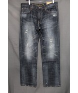 NEW Men's AE Slim Straight Jeans Faded Distressed Dark Blue Wash 33 x 30... - $21.94