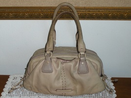 Cole Haan Satchel Tan Leather Pebble Grain Triple Zip Handbag Purse Tote Bag - $24.99
