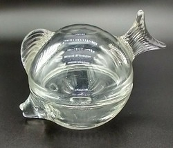Anchor Hocking Vintage Art Glass Fish Covered Bowl USA Trinket Bowl Cand... - $15.83