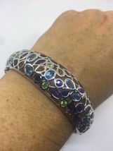 Vintage Handmade Genuine Gemstone 925 Sterling Silver Bangle Bracelet - $381.15