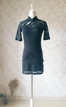 Women Chinese Style Short Sleeve Black Lace Dress Short Black Lace Party Dresses image 4