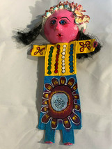 Mexican Folk Art Hand Painted Coconut Shell Yellow Blue Dress Girl Wall ... - $31.67