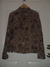Additions by Chicos Size 3 16-18 Gold & Tan Animal Print Button Jacket - $37.01