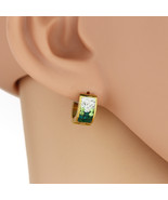 UNITED ELEGANCE Gold Tone Hoop Earrings, Faux Emerald & Swarovski Style ... - $9.99