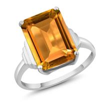 8.20 Ct Octagon Natural Yellow Citrine Engagement Ring For Women 925 Ste... - $172.78