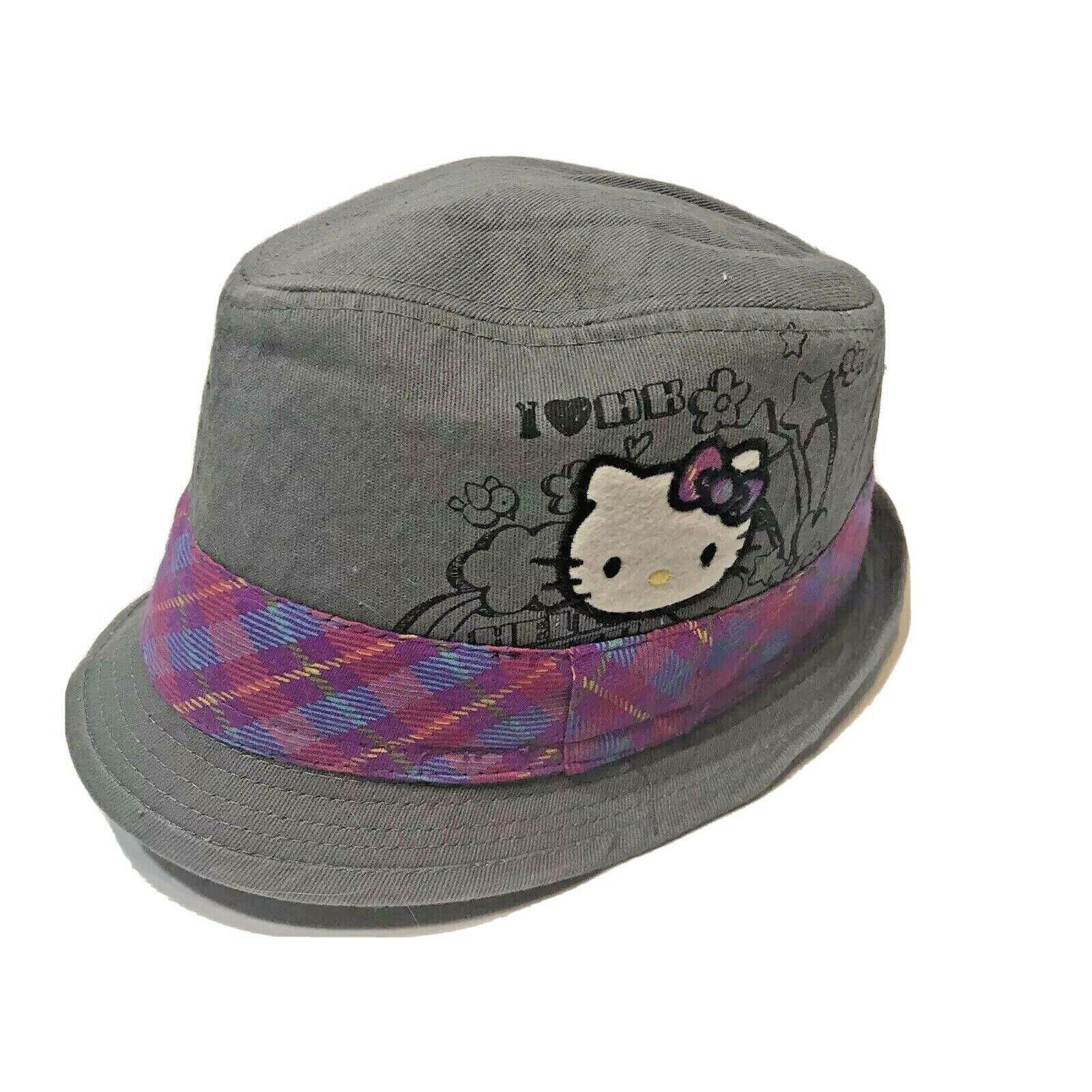 Hello Kitty Gray Fedora Hat with Plaid Band Girls Small Medium Sanrio Cotton  - $12.60