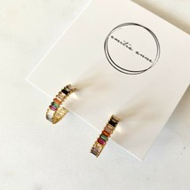 Luxury Baguette Gold Geometric Post Earrings Bauble Styled Hoop Simple R... - $37.83