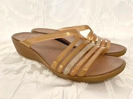 Womens Crocs Isabella Strappy Jelly Sandal Gold  Size 9 Open Toe Slip On Shoe - $17.99