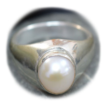 Natural Pearl Sterling Silver Ring For Men Women Bold 6 Carat Size UK H ... - $36.73
