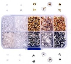 1000 Pieces Earring Backs 10 Styles Safety Earring Backings Clips Bulle... - $20.37