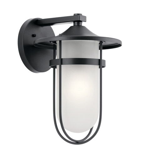 Primary image for Kichler 49826BK Finn Outdoor Wall Sconces 11in Black Aluminum 1-light