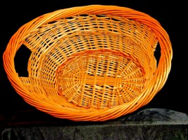Handmade Woven Wicker Basket with Double Handles AA-191710  Vintage Collectible image 2