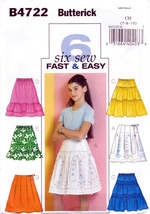 Butterick B4722 Girls Sewing Pattern Skirts Childrens Easy Kids Sizes 7-... - $7.95