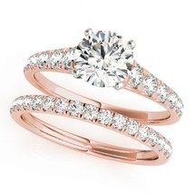 Womens Wedding Bridal Diamond Ring Set 14k Rose Gold Finish 925 Sterling Silver - $94.99