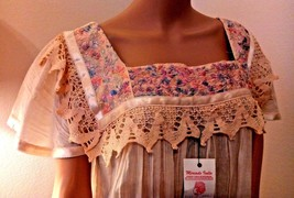 VTG Deadstock NWT Mexican Embroidered Floral Crochet Lace Gauze Oaxacan ... - $189.99