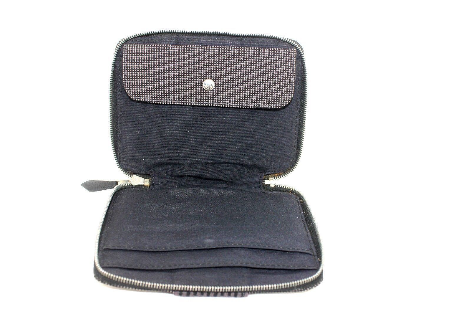 Auth HERMES gray Yale line Perth PM round zipper purse coin case Purse Wallet