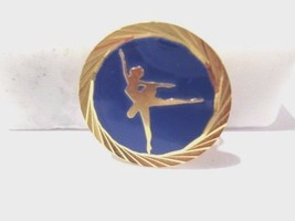 BLUE ENAMEL GOLD TONE LADY WOMAN ICE SKATER FIGURE PIN VINTAGE SCATTER S... - $19.00
